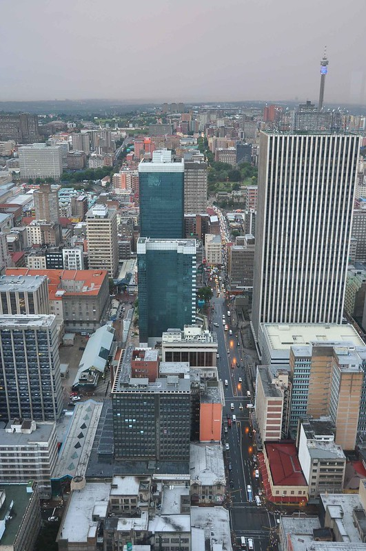 Looking down on Joburg city centre.