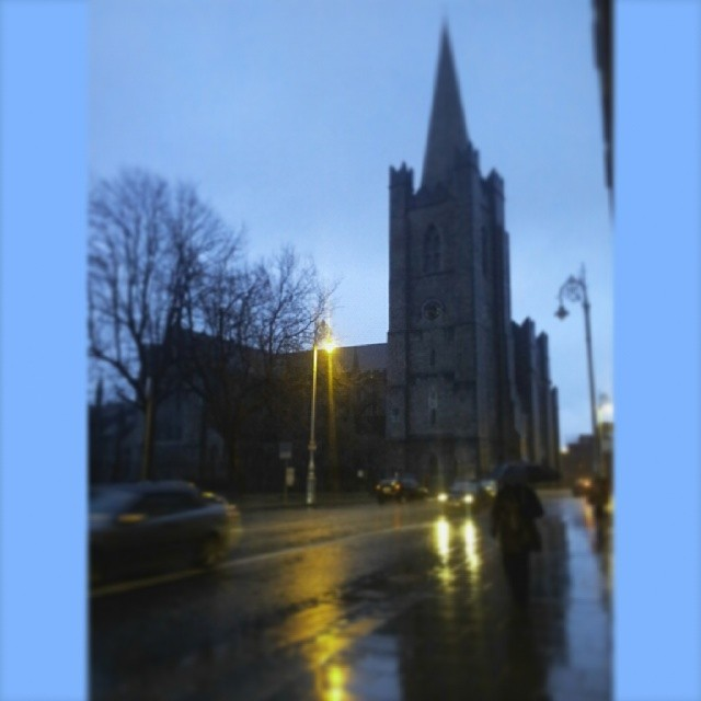 St. Patrick's Cathedral, Dublin Ireland in the rain. January 28,2013. #dublin #ireland #landmark #rain #waterlogged #morning #tuesday #dreary #gloomy #miserable #weather #christianity #church #stpatricks #cathedral
