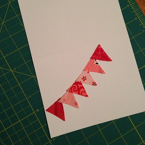 35:365 Handmade Valentine Card idea # 1 was a bust... So maybe some itty bitty bunting sewn onto a card?