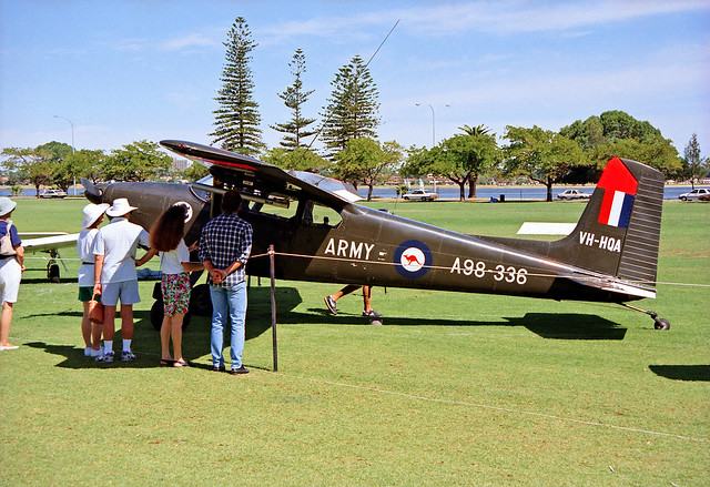 Spring 1990 - Cessna C-180A (ex-Australian Army Aviation Corps, serial A98-336) at the Sports Aircraft Association Australia fly-in at Langley Park between the Swan River and city of Perth, Western Australia