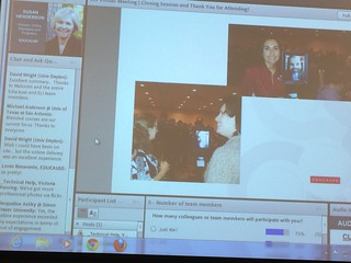 Susie Henderson leads a wrap-up session for online participants including photos of the f2f environment