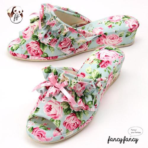 43.春暖花開甜美玫瑰低跟拖鞋(日本製)-粉綠