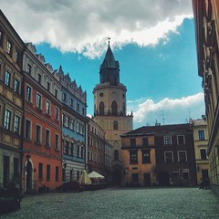 Wieża Trynitarska (the Trinitarian Tower) and the Main Square in Lublin. The beautiful blue building on the left belongs to one of the richest and most prominent families in the city....
