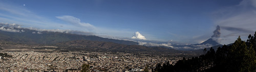 Panorama of Ambato, Ecuador and Volcano Tungurahua