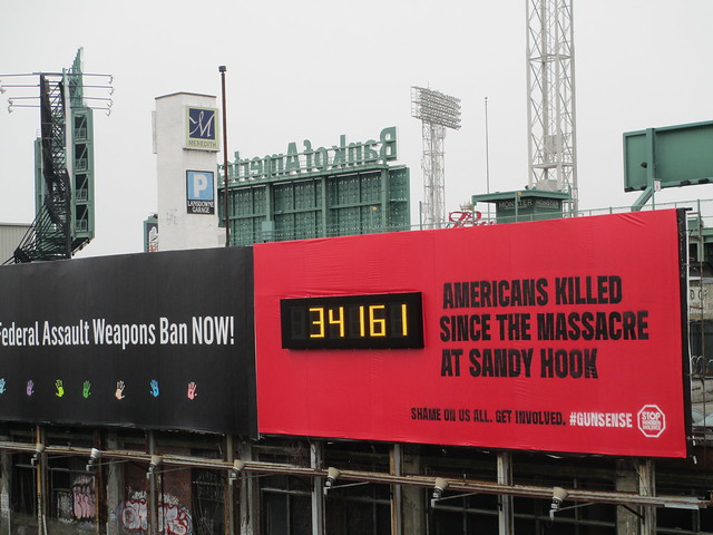 billboard on outside of Fenway Park, Boston