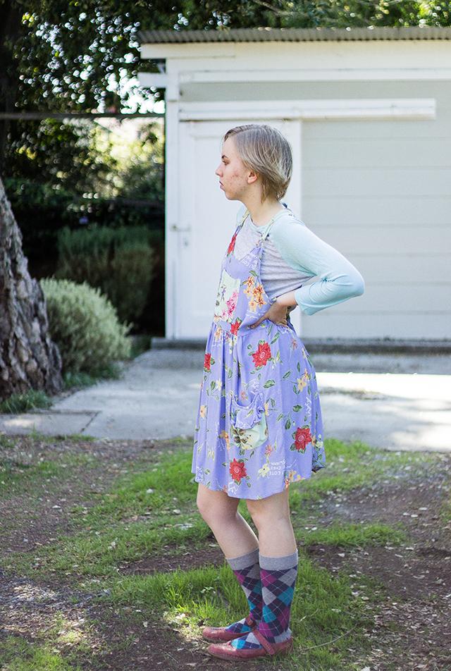floral dress over baseball shirt, argyle socks