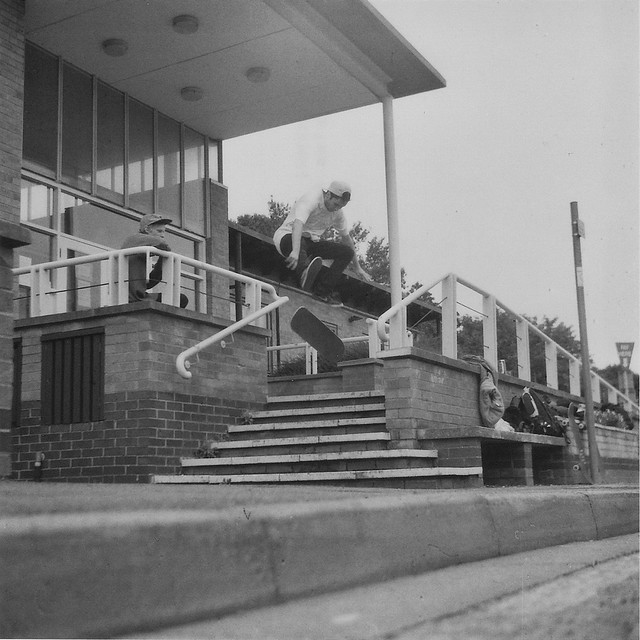 Nick Rodbourne - Heelflip at Riverside in High Wycombe - Lubitel 2 - 120 Ilford 3200