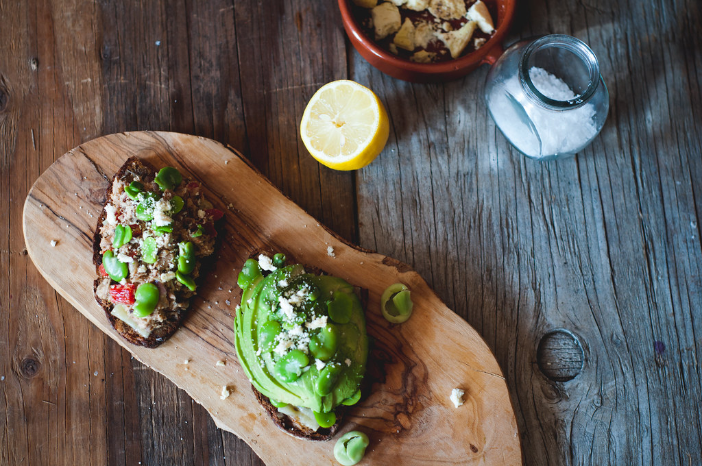 Tuna Salad and Avocado Fava Bean Tartines