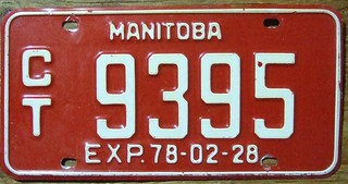 MANITOBA 1977 (EXP.78-02-28)--- COMMERCIAL TRUCK PLATE
