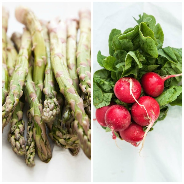 spring freekeh salad with asparagus, peas and radishes