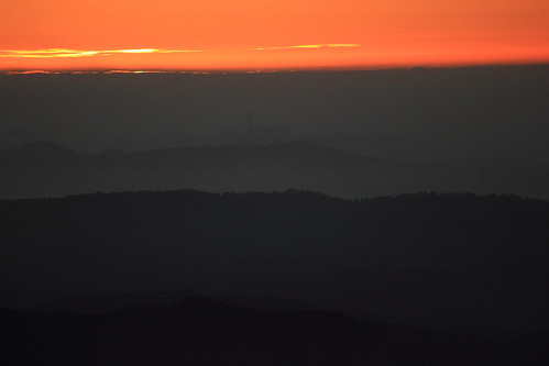 california sunset orange canon landscape haze hills greenflash
