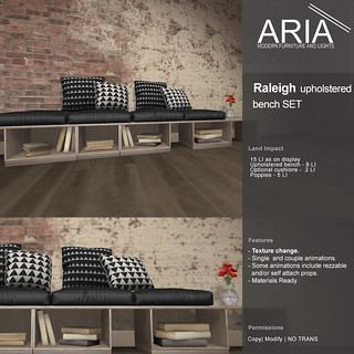 [ARIA] Raleigh Upholstered Bench Set @ TMD!