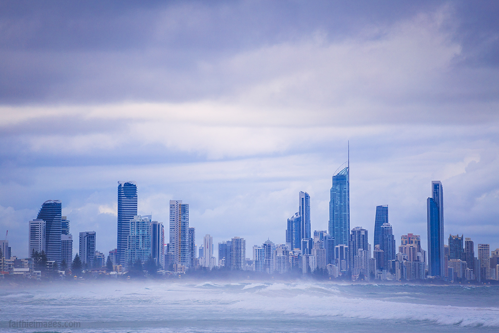 The City of Gold Coast as seen from Burleigh Heads
