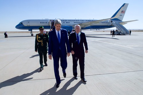 Secretary Kerry and Senator McCain Arrive at King Khaled International Airport in Riyadh
