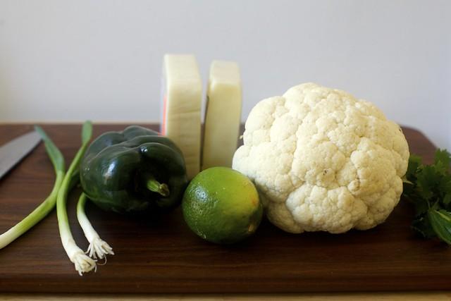 """scallions, poblano, lime, cheese, cauliflower, """"cilantro"""""""