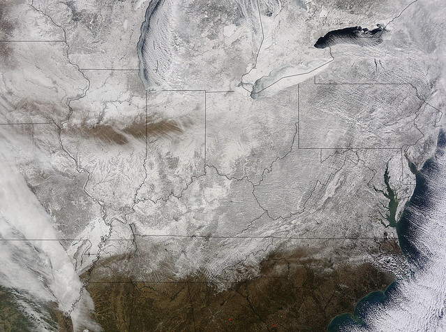 """NASA Snaps Picture of Eastern U.S. in a Record-Breaking """"Freezer"""""""