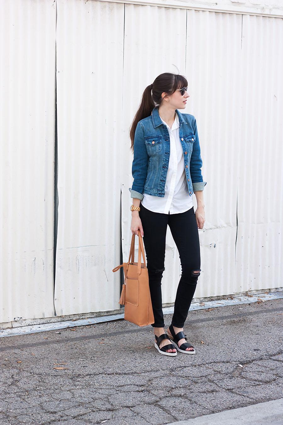 Everlane Street Shoe, J.Crew Denim Jacket, Minnie and George, Street Style