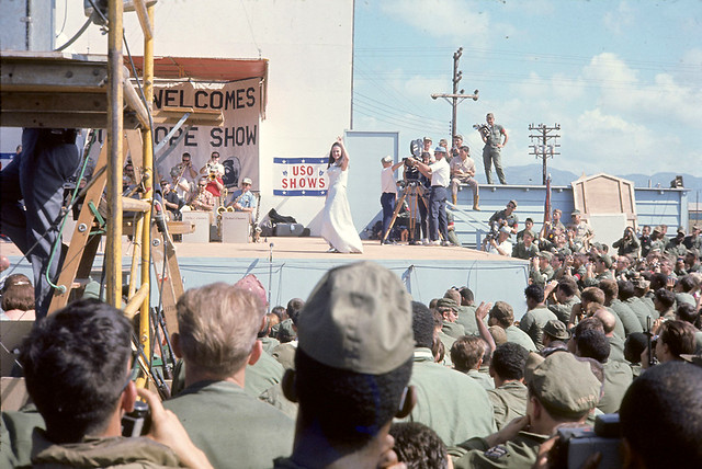 Miss World at Bob Hope show Phu Cat AB Dec 26, 1967