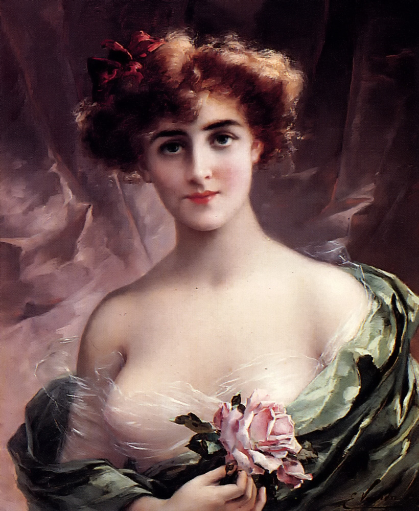The Pink Rose by Emile Vernon - Date unknown