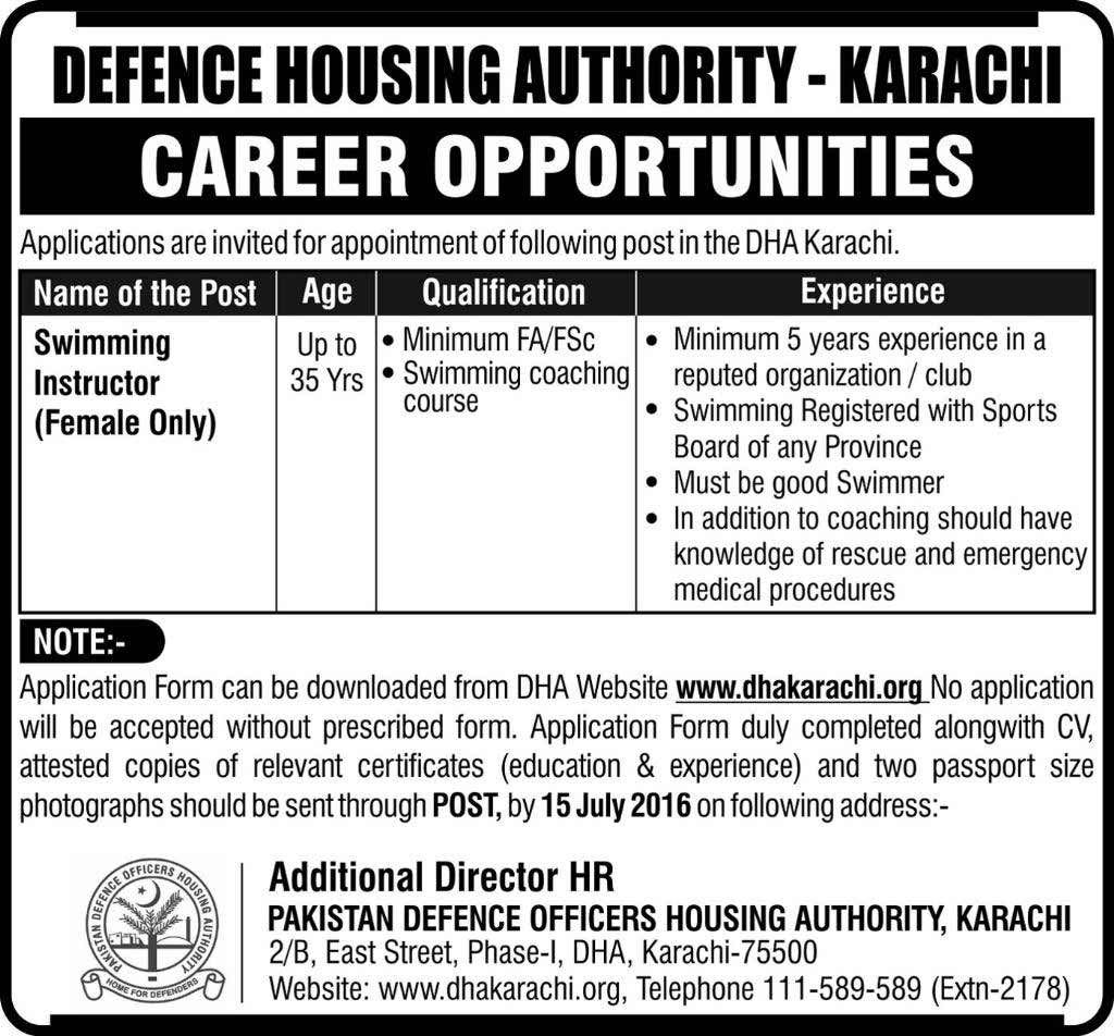 Defense Housing Authority Karachi Swimming Instructor Required