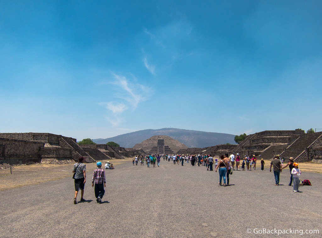 Walking down the Avenue of the Dead, toward the Pyramid of the Moon. This main street through Teotihuacan runs north/south for approximately two miles.