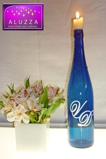 Botella de vino con velas personalizadas con iniciales - Botellas con velas ...
