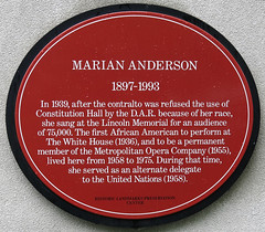 Photo of Marian Anderson red plaque