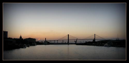 evening southcarolina savannah avond savannahriver tuibrug talmadgememoriabridge