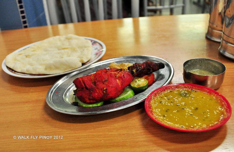 Chicken Tandoori, Masala Dal, and Naan in Malacca, Malaysia