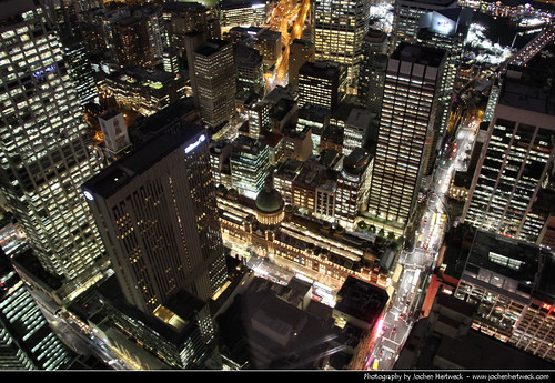 Looking down from the Sydney Tower @ Night