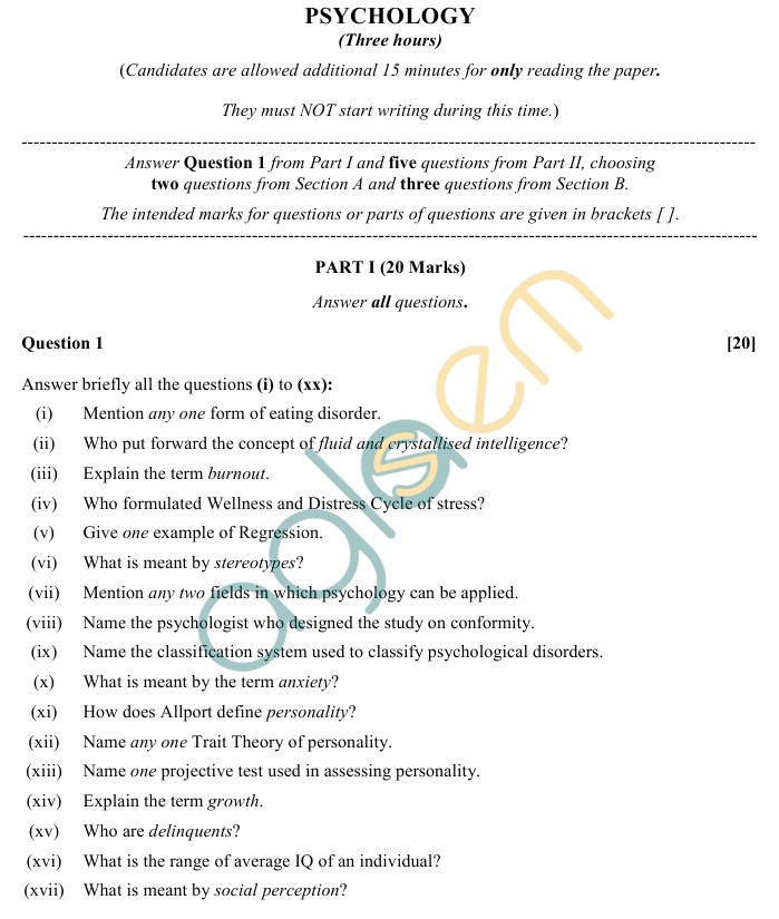 isc class sample paper psychology aglasem  isc class 12 psychology sample paper