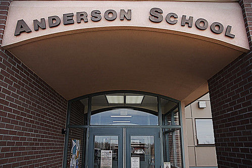 The front entrance of Anderson Public School in rural Gallatin County, Montana. USDA photo.