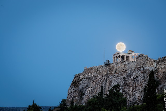 the august full moon over the erechtheion at the acropolis 1of3