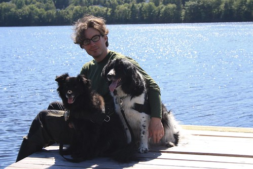 Kay and the Dogs on a dock