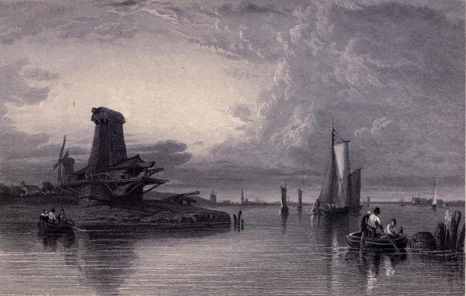 33. Paisaje del delta del Rin, en el Mar del Norte. Boceto de Clarkson Stanfield. 1833. Autor, Ayacata7