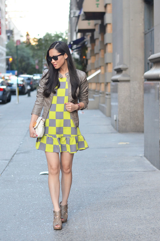 checkered neon dress with leather jacket
