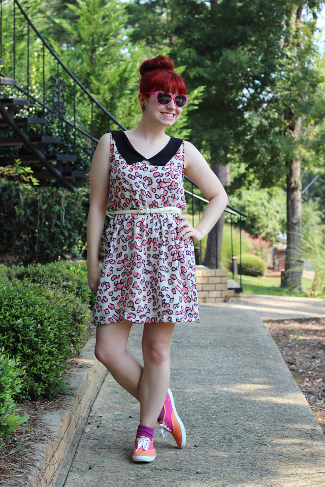 pink leopard dress colorful keds and teal accents