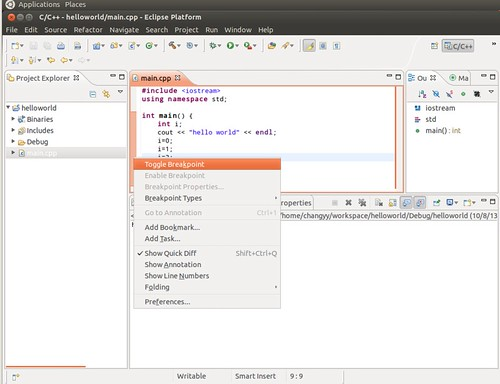 Ubuntu 12.04 Eclipse C++ Project Debug 2