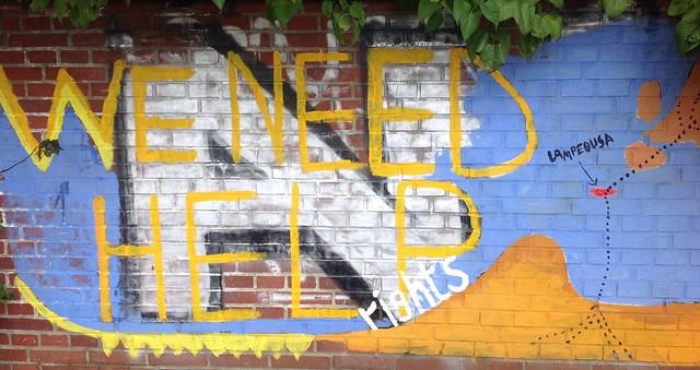 Gruppe Lampedusa Hamburg St. Pauli Kirche Grafitti
