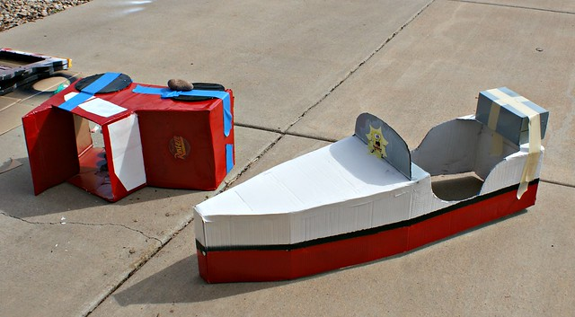 cardboard car and boat