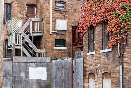 Grotty corner lot with splash of fall colour and storytelling stairs - #293/365 by PJMixer