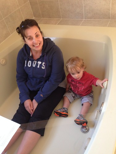 Auntie Lauren in Giant Tub with Martin