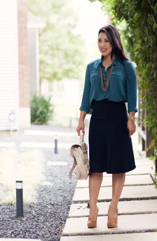 cute & little blog | teal shirt, navy high-waisted midi skirt, mustard platform pumps, outfit #ootd, petite fashion