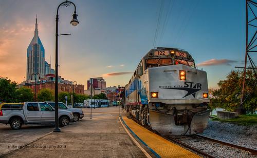 night train landscape nikon downtown cityscape unitedstates nashville tennessee commuter passenger hdr d800 musiccitystar sobro atttower 1424mmf28g mikenoblephotography