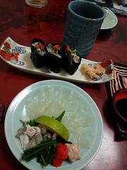 大分旅行2013 臼杵 ふぐ刺身と寿司