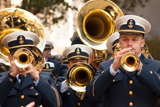 NEW YORK — The Coast Guard Academy Band marches in New York City's Veterans Day Parade, November 11, 2013. The Cadet Music Department provides an important artistic outlet for members of the Corps of Cadets. U.S. Coast Guard photo by Seaman Robert Harclerode.
