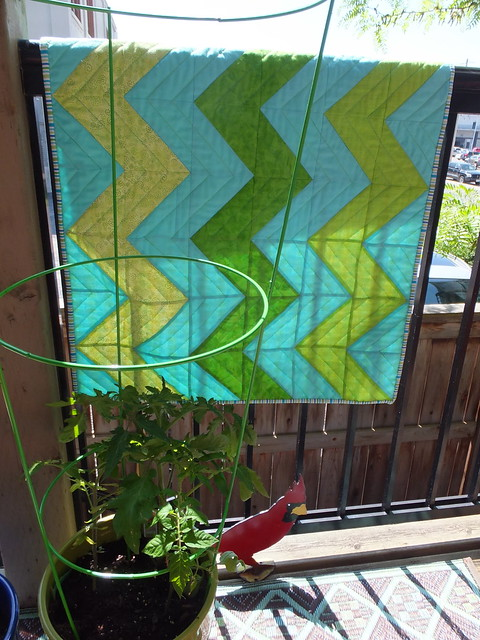 Zig Zag Quilt on Patio