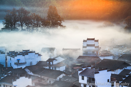china morning travel autumn house mist color tree fall tourism nature beautiful beauty horizontal misty fog rural sunrise season relax landscape dawn maple twilight scenery colorful asia peace tour village view outdoor traditional chinese relaxing scenic culture peaceful tranquility landmark serenity stunning vista remote serene tradition architeture tranquil breathtaking wuyuan jiangxi gutan shicheng
