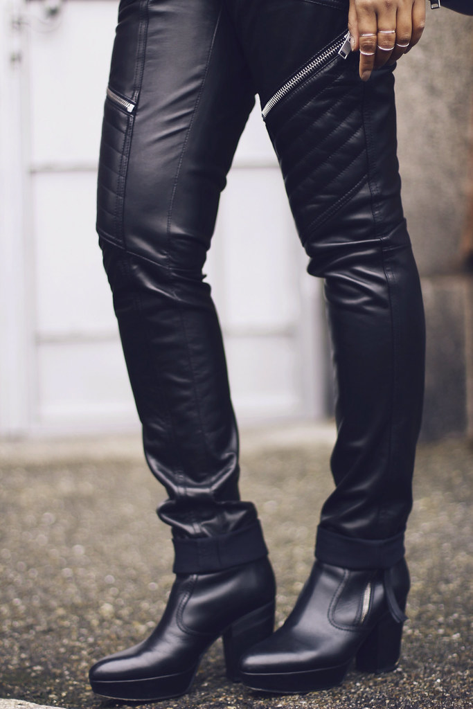 Saint Laurent Paris motorcycle leather jacket pants-Givenchy Obsedia- Givenchy Bambi- Unger Fashion