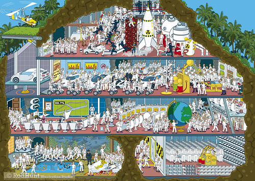Top Gear Where's Stig? Stig's Secret Lair - Isometric Pixel Art Illustration by Rod Hunt